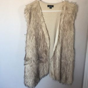 Faux fur oversized vest